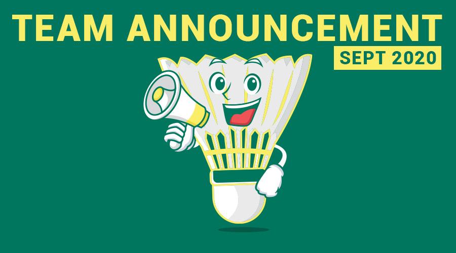 Leinster Badminton - Team Announcement - Sept 2020